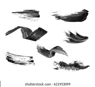 Grunge banner set. Black strokes of the grunge brush.Vector illustration.