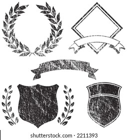 Grunge Banner, Shields, Laurels and Logo Elements