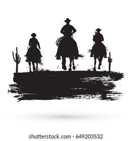 Grunge banner, Silhouette of cowboys riding a wild horses, vector