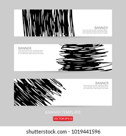 grunge banner template hand drawn painted scratched. grunge design banner template for promotion . vector Illustrations template of Grunge abstract background brush texture for promotion. Eps10 vector