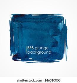 Grunge banner. Grunge watercolor background. Blue watercolor spot.