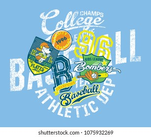 Grunge baseball kids team  league college champs, vector print for children wear with applique embroidery patches