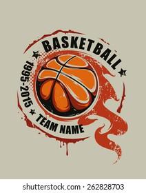 Grunge basketball emblem. Flaming basketball graffiti. Vector art.
