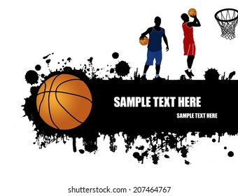 Grunge basketball poster with basketball ball and players, vector illustration
