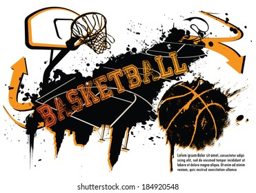 Grunge Basketball Template - suitable for posters, flyers, brochures, banners, badges, labels, wallpapers, web design, advertising, publicity or any branding.