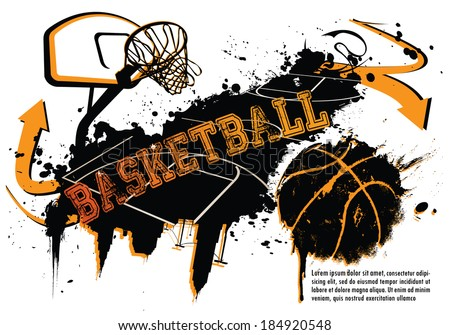 grunge basketball template suitable posters flyers stock vector