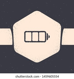 Grunge Battery charge level indicator icon isolated on grey background. Monochrome vintage drawing. Vector Illustration