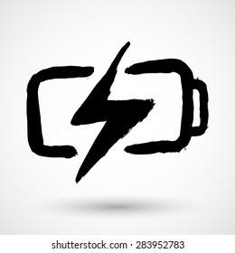 Grunge battery logo on a white background