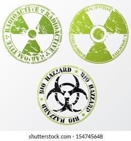 Grunge bio hazard and radioactive stamp design