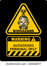 Grunge bio hazard warning sign