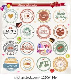 Grunge birthday rubber stamp