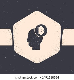 Grunge Bitcoin think icon isolated on grey background. Cryptocurrency head. Blockchain technology, digital money market, cryptocoin wallet. Monochrome vintage drawing. Vector Illustration