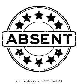 Grunge black absent word with star icon round rubber seal stamp on white background