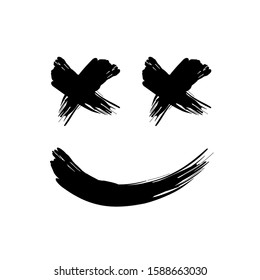 grunge black abstract textured vector smile. Vector design grunge element. Vector abstract smileys face paintbrush. Vintage shape. Retro smile