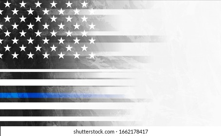 Grunge black concept USA flag with blue stripe. American police force sign vector abstract background