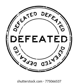 Grunge black defeated round rubber seal stamp on white background