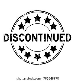 Grunge black discontinued with star icon round rubber stamp on white background