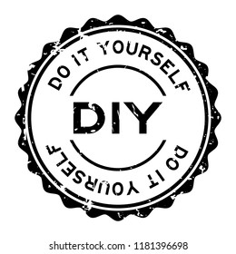 Grunge black DIY word (Abbreviation of Do it yourself) word round rubber seal stamp on white background