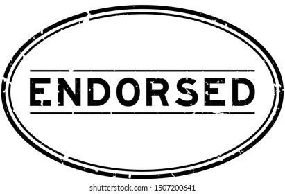 Grunge black endorsed word oval rubber seal stamp on white background