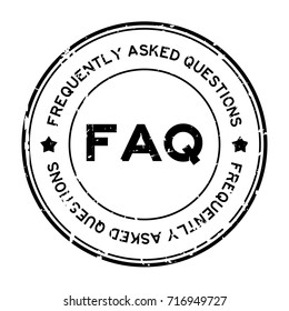 Grunge black FAQ (Abbreviation of Frequently Asked Questions) round rubber seal stamp on white background