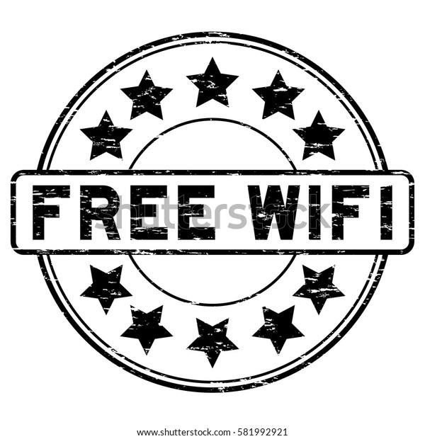 Grunge black free wifi with signal icon round rubber seal stamp