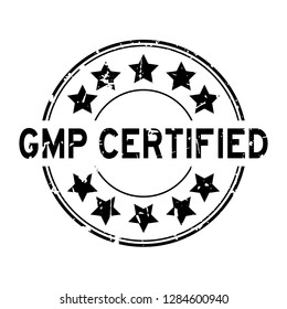 Grunge black gmp certified word with star icon round rubber seal stamp on white background