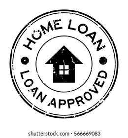 Grunge black home loan approved with house icon round rubber stamp