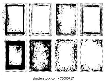 Grunge black ink splat frame border frame