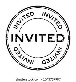 Grunge black invited word round rubber seal stamp on white background