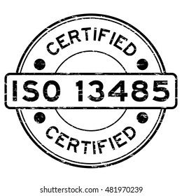 Grunge black ISO 13485 certified rubber stamp