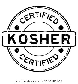 Grunge black kosher certified word round rubber seal stamp on white background