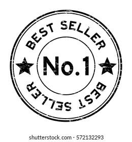 Grunge black no. 1 best seller round rubber stamp on white background