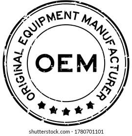 Grunge black OEM (Abbreviation of Original Equipment Manufacturer) word round rubber seal stamp on white background