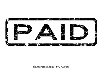 Grunge black paid square rubber seal stamp on white background