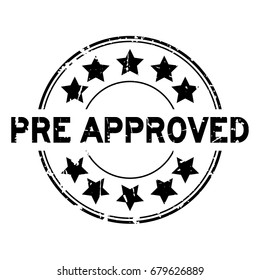 Grunge black pre approved with star icon round rubber seal stamp on white background