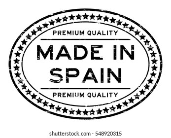 Grunge black premium quality made in spain with star icon oval rubber stamp
