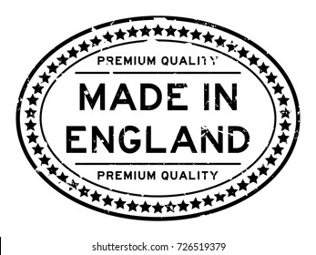 Grunge black premium quality made in England oval rubber seal stamp on white background