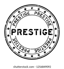 Grunge black prestige word with star icon round rubber seal stamp on white background