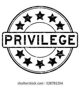 Grunge black privilege with star icon round rubber stamp