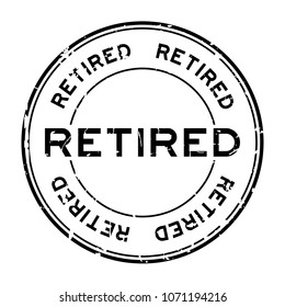 Grunge black retired round rubber seal stamp on white background