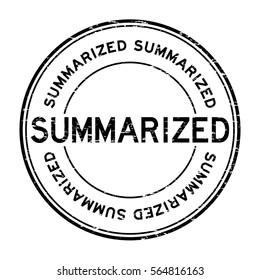 Grunge black summarized round rubber stamp