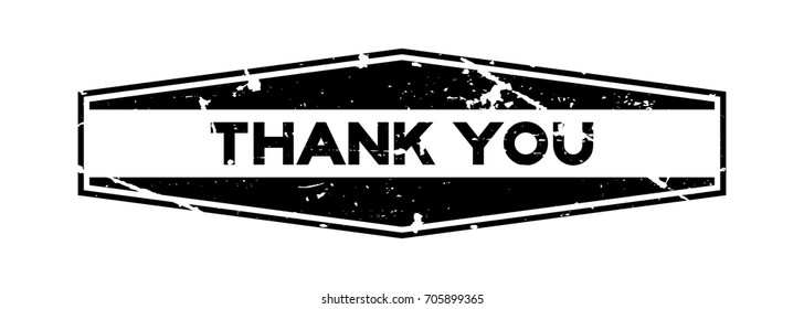 Grunge black thank you wording hexagon rubber seal stamp on white background