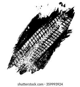 Grunge black tire track on white background, vector illustration