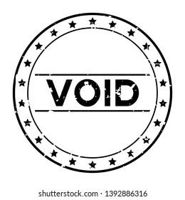 Grunge black void word with star icon round rubber seal stamp on white background