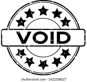 Grunge black void word with star icon rubber seal stamp on white background