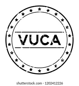 Grunge black vuca (abbreviation of Volatility, uncertainty, complexity and ambiguity) word round rubber seal stamp on white background