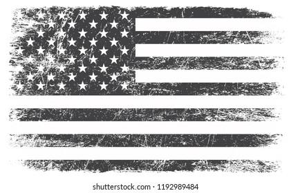 Grunge black and white American flag.Vector dirty USA flag.