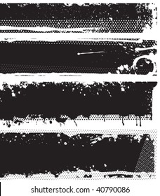 Grunge black and white banners. Each banner are one object in separated layer. Vector illustration.