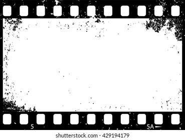 Grunge black and white film frame, vector illustration