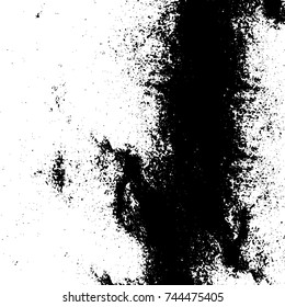 Grunge black white. Monochrome vector texture. The pattern of ink stains, cracks, fading. Overlay aged grainy messy template. Renovate wall scratched backdrop